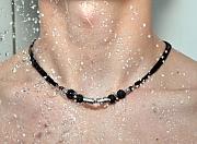 Kowal Outdoorschmuck Herrenhalskette Cold Magma aqua plus M, in der Dusche getragen, klein